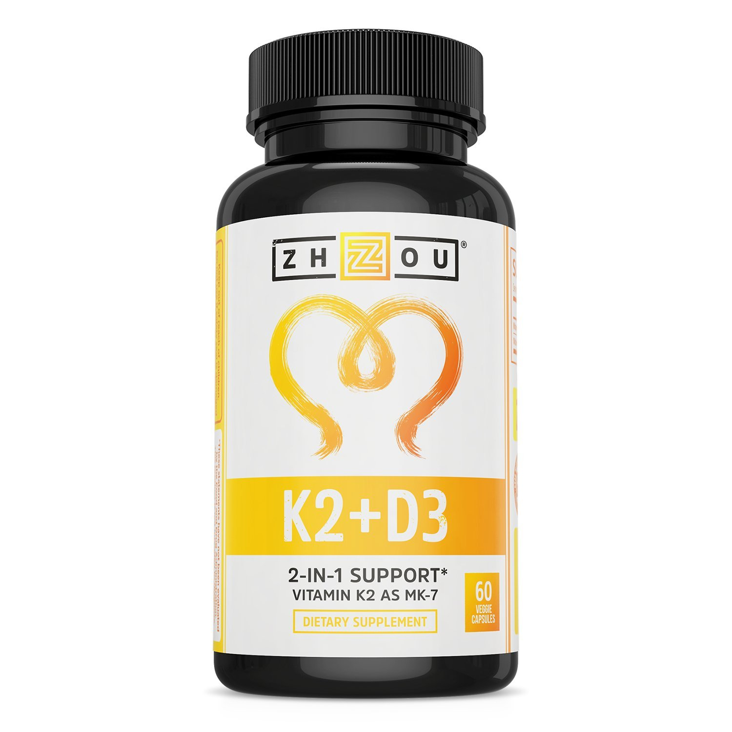 Vitamin K2 (MK7) with D3 Supplement - Vitamin D & K Complex - Bone and Heart Health Formula - 5000 IU Vitamin D3 & 90 mcg Vitamin K2 MK-7 - 60 Small & Easy to Swallow Vegetable Capsules by Zhou Nutrition