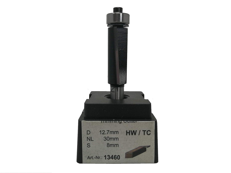 jjw-germany HW HM Oberfr/äser B/ündigfr/äser Z= 2 D= 12,7 mm NL 30 mm lang Schaft 8 mm mit Achswinkel und Kugellager unten