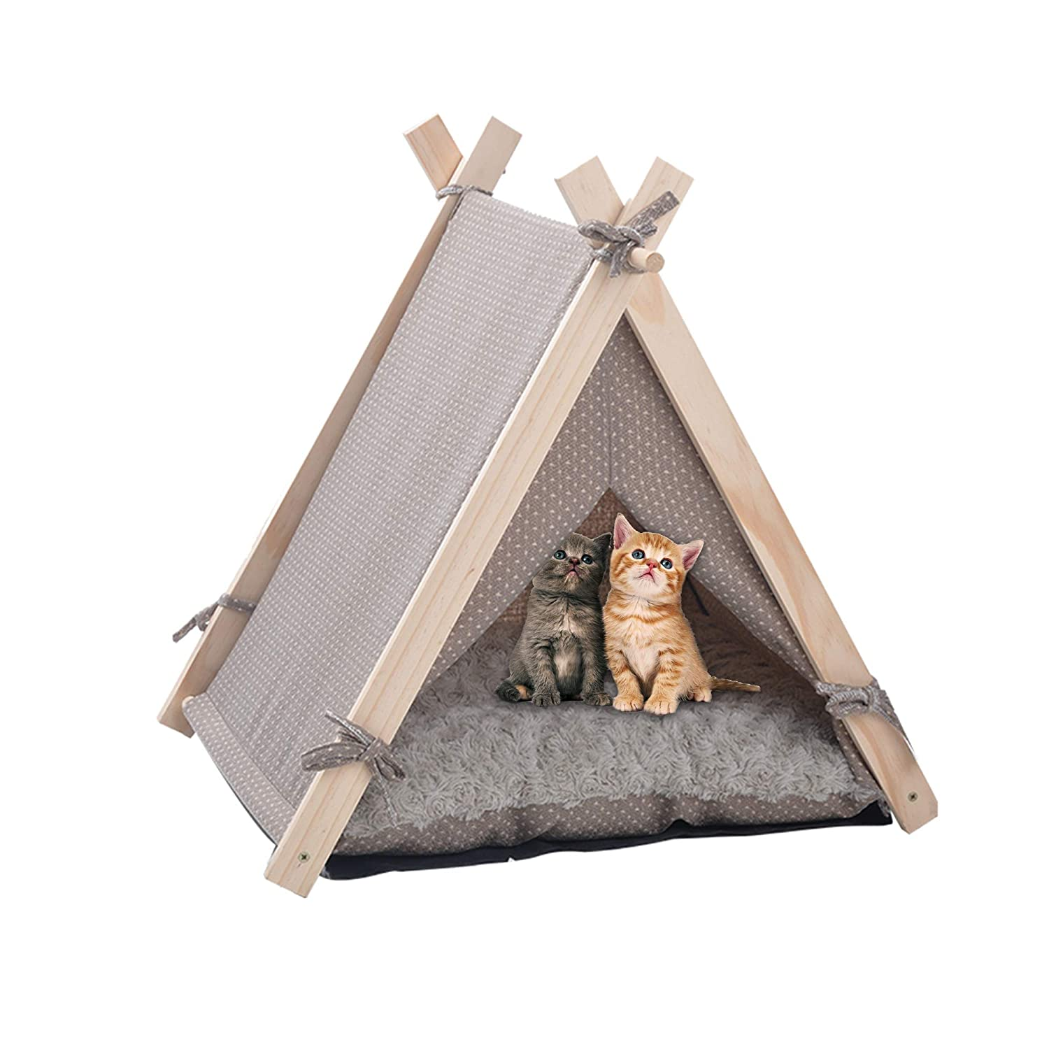 LuckerMore Pet Teepee Tent Dog Cat Tent Bed Small Washable with Soft Bed Padding for Kitty Puppy Small Dog
