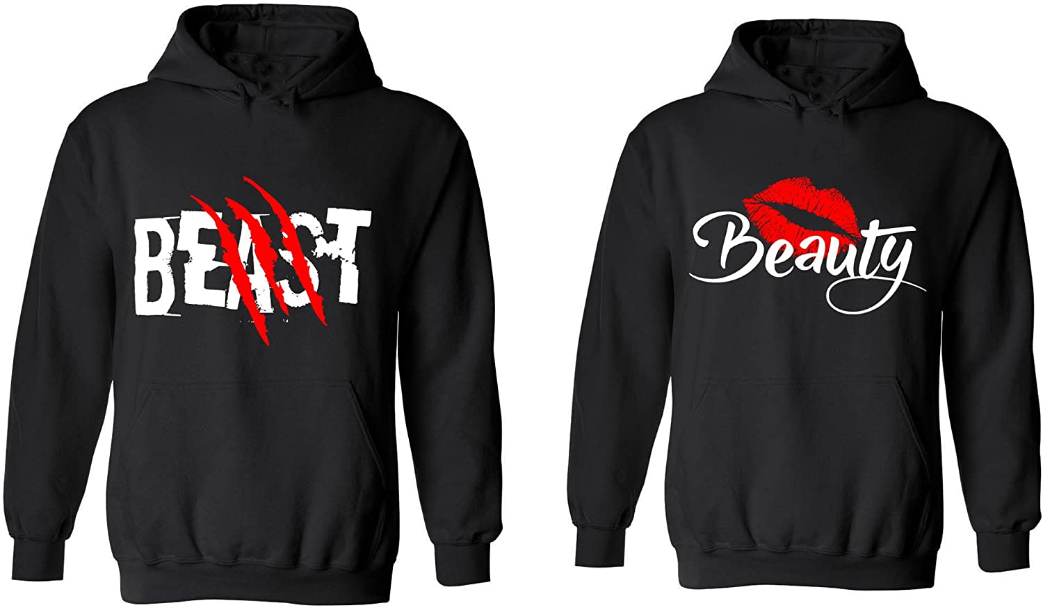 Amazon Com Beast Beauty Matching Couple Hoodies His And Her Sweaters Clothing