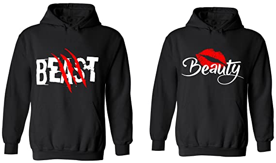 Amazoncom Beast Beauty Matching Couple Hoodies His And Her