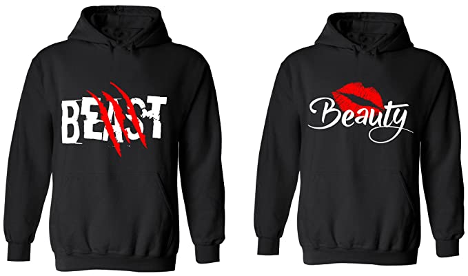 438aa451e4 Amazon.com: Beast & Beauty - Matching Couple Hoodies - His and Her ...