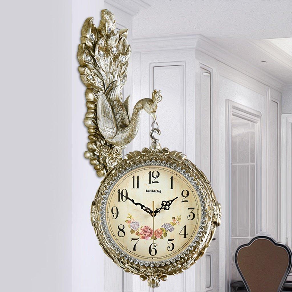 エッジへ 壁時計 26インチヨーロッパのウォールクロック両面時計、リビングルームファッションクロッククリエイティブなピーコック装飾アーティストミュートウォールチャート ( 色 : B ) B07BNM7P59 B B