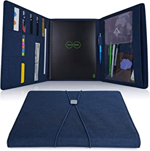 Folio Cover for Rocketbook Everlast Fusion - Letter Size, Waterproof Fabric, Multi Organizer with Pen Loop, Zipper Pocket, Business Card Holder, fits A4 size Notebook, 11 x 9, Blue
