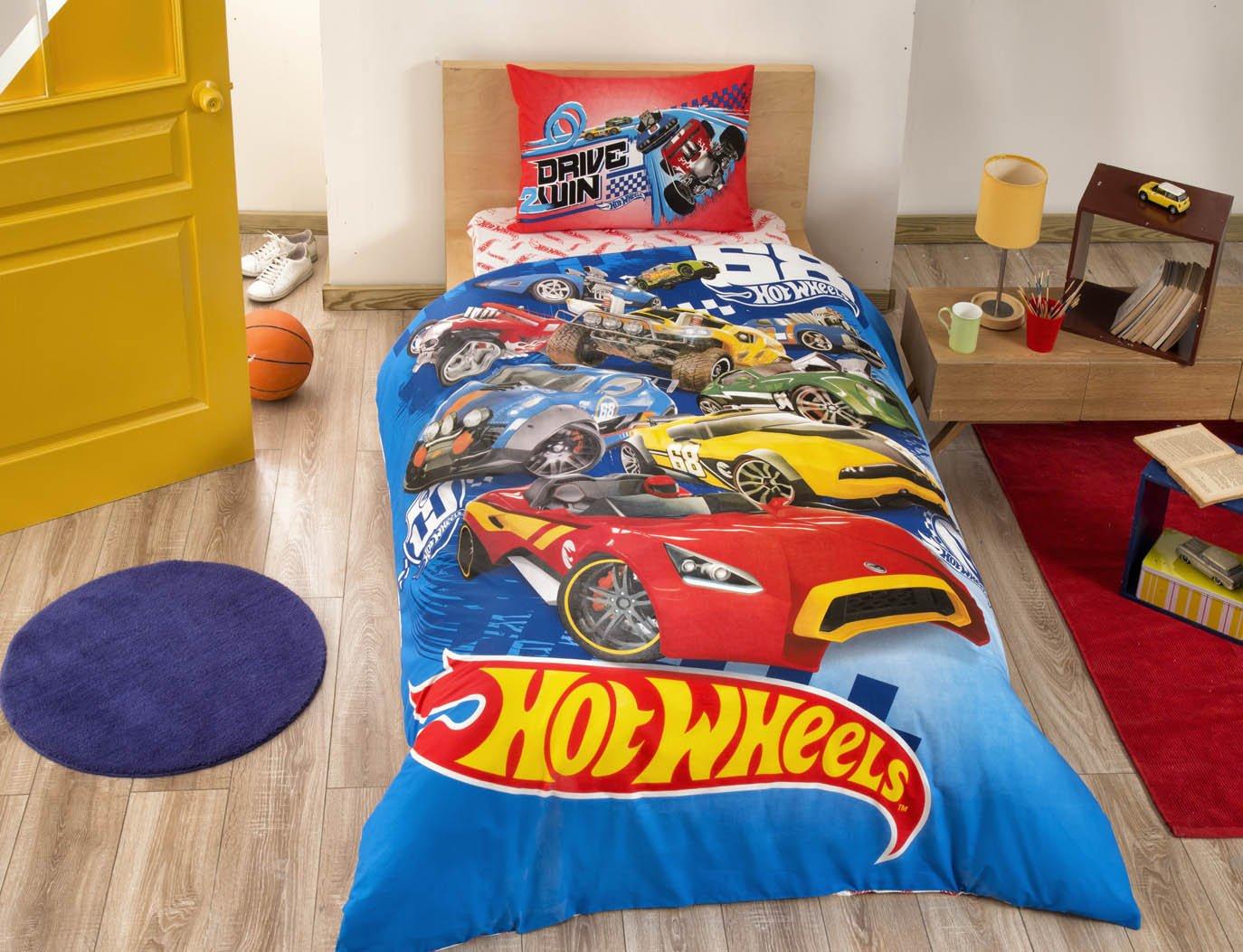 COMFORTER SET Hot Wheels Boy's Kid's Single / Twin Size Comforter Cover Set+++White Microfiber Comforter(Look 2.Image)Kids Bedding 4 Pcs