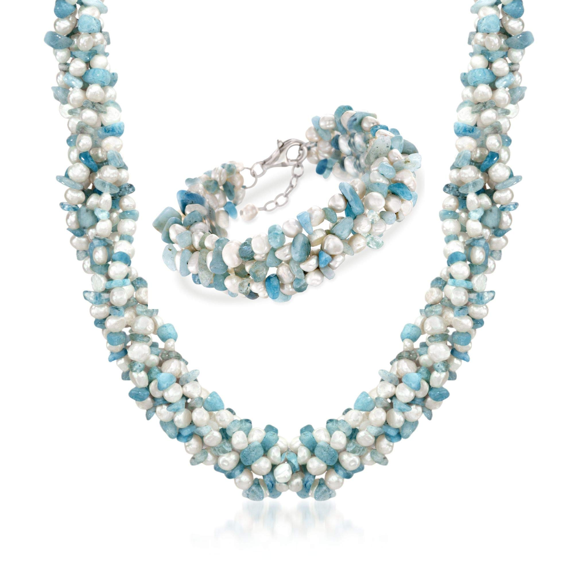 Ross-Simons Aquamarine Bead and 5-6mm Cultured Pearl Torsade Necklace With Free Bracelet