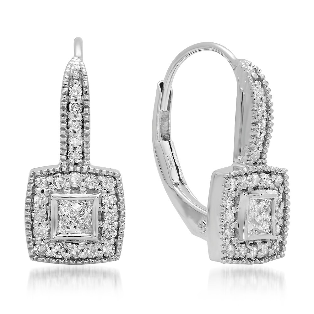 0.50 Carat (ctw) 14K White Gold Princess & Round Diamond Ladies Cluster Halo Style Drop Earrings 1/2 CT