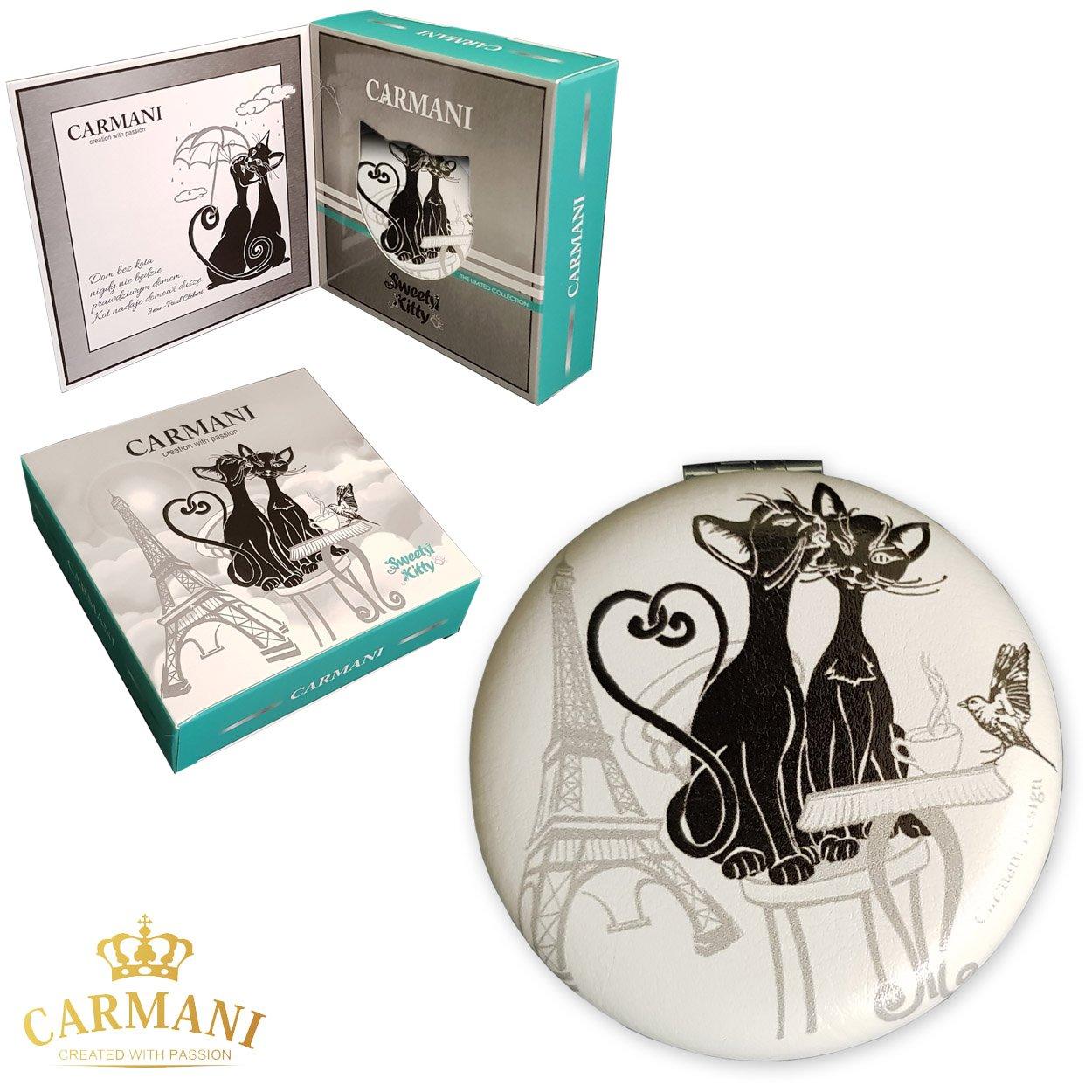 Carmani - GATTO design Donne Pocket flip Viaggi Trucco borsa specchio di metallo di tasca delle ragazze specchio compatto