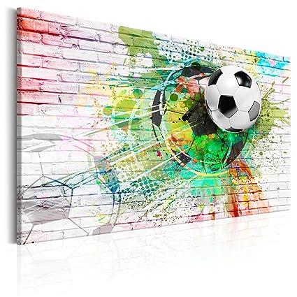 Decomonkey Bilder Fussball 90x60 Cm 1 Teilig Leinwandbilder Bild Auf Leinwand Wandbild Kunstdruck Wanddeko Wand Wohnzimmer Wanddekoration Deko Sport