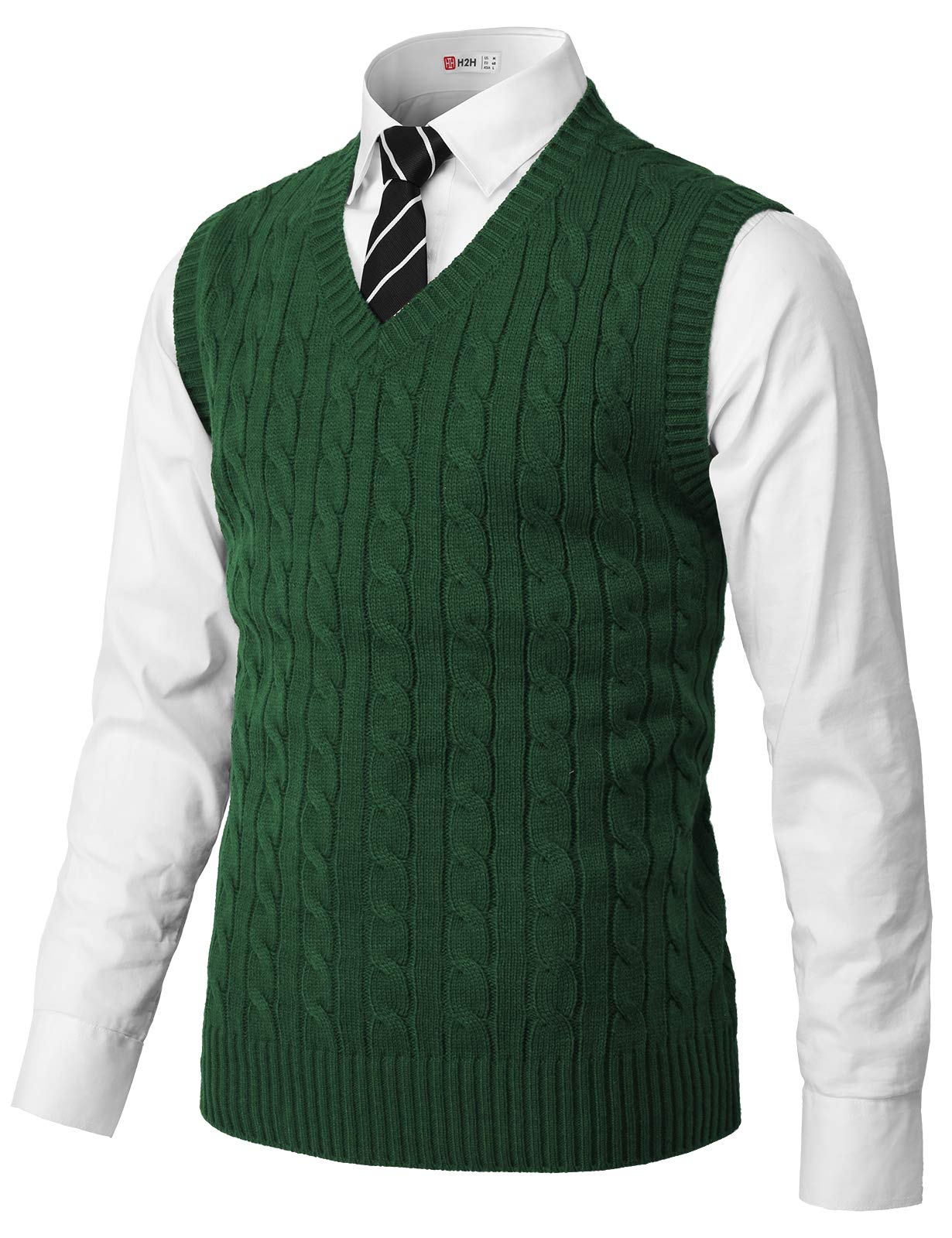 H2H Mens Casual Slim Fit Pullover Sweaters Knitted Vest Green US 2XL/Asia 3XL (CMOV052) by H2H