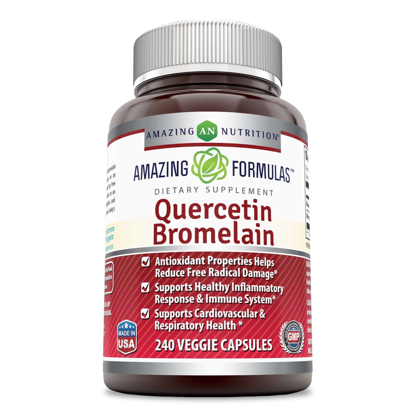 Amazing Nutrition- Quercetin 800 Mg with Bromelain 165 Mg, 240 Vcaps: A Potent Team Providing Amazing Health Benefits.