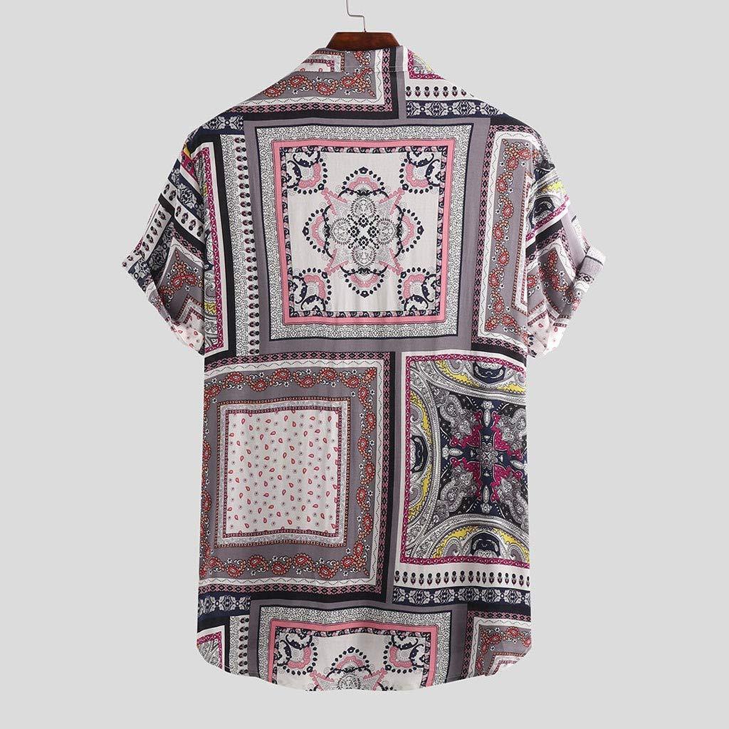 XuanhaFU Polo para Hombre de Manga Corta Casual Solapa Camisa De Manga Corta con Estampado De Estilo /étnico