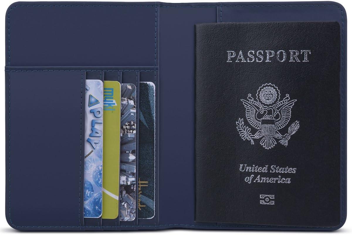 WorCord Portefeuille Passport Porte-Passport en Cuir Protecteur Passport Slim-Fit Etui Pochette pour Tickets Carte Bleu et Carte de Visite avec Blocage RFID Noir