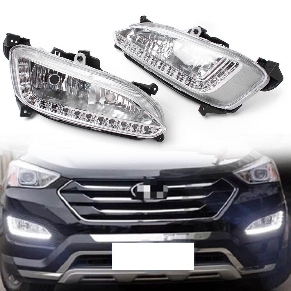 Beautyladys LED デイライト フォグランプ DRL付き12V 対応車種:Hyundai Santa Fe 2013-2014 B07DG484JR