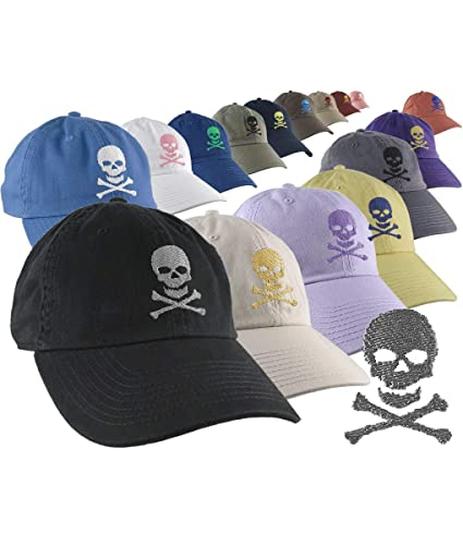 0f5a9d40 Amazon.com: Custom Skull Crossbones Pirate Your Color Choice Embroidery on  Your Selection of 1 Adjustable Unstructured Baseball Cap Dad Hat Style  Poison: ...