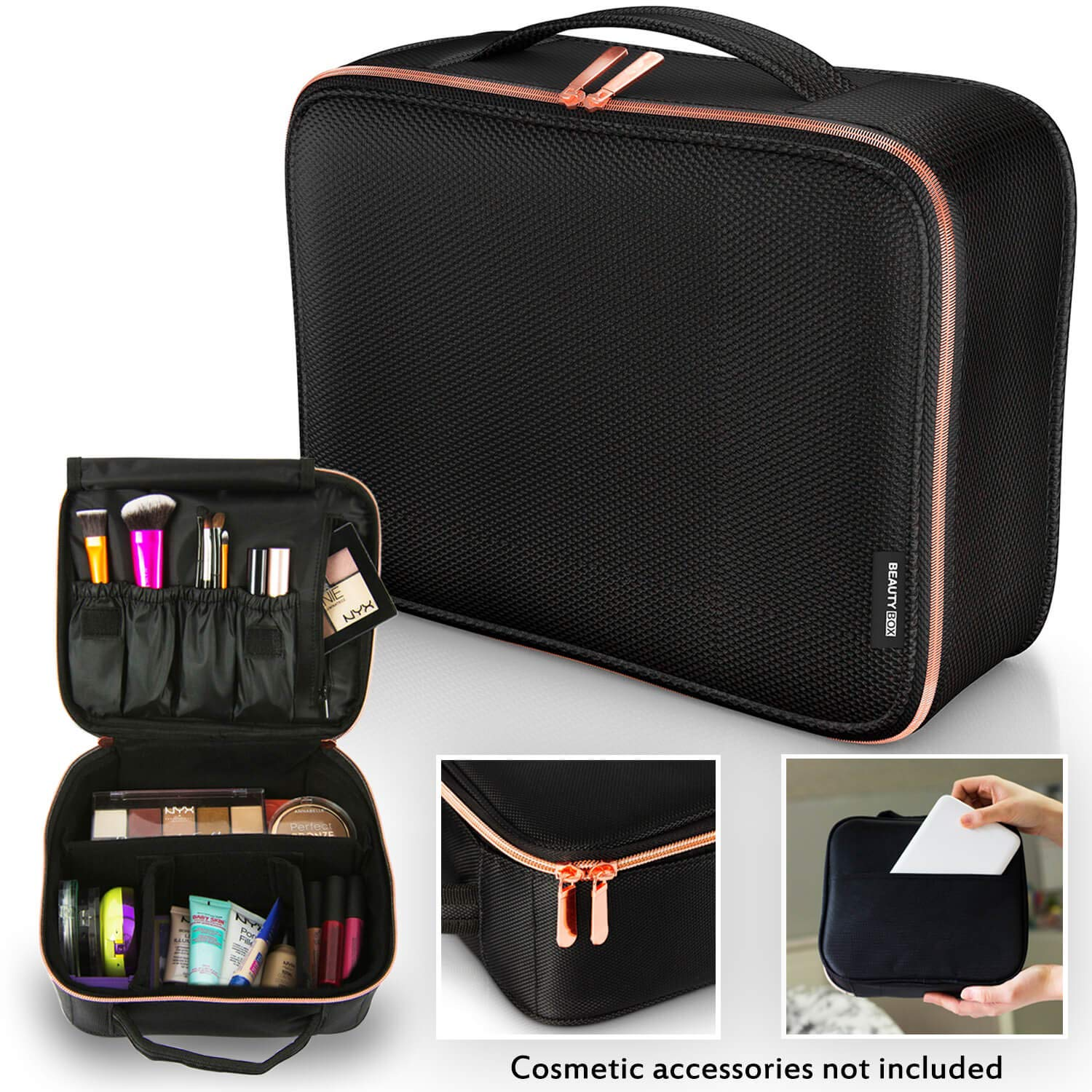 Premium Travel Makeup Bag, Cosmetic Bag with Rose Gold Zipper & Adjustable Dividers