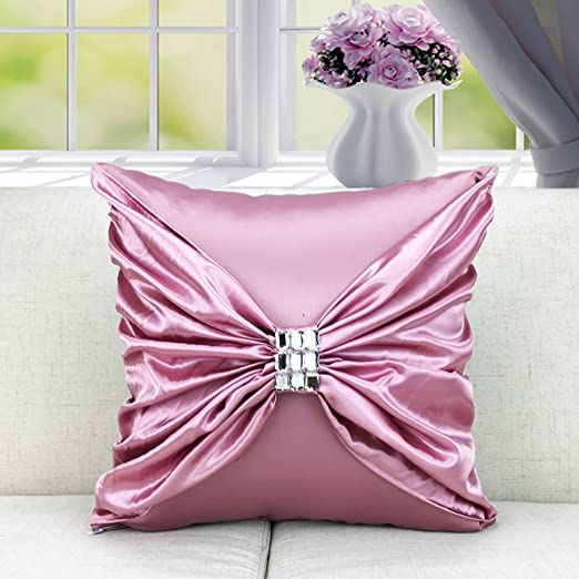Luxury Silky Decorative Throw Pillow Case Cushion Cover with Diamonds