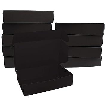Cajas de regalo Cartón negro (10Pack) - Cajas de Presentación (19 x 11 x 4,5 cm) - Empaque Plano Aptas para Fiestas, Bodas, Guardar Regalo y Joyas