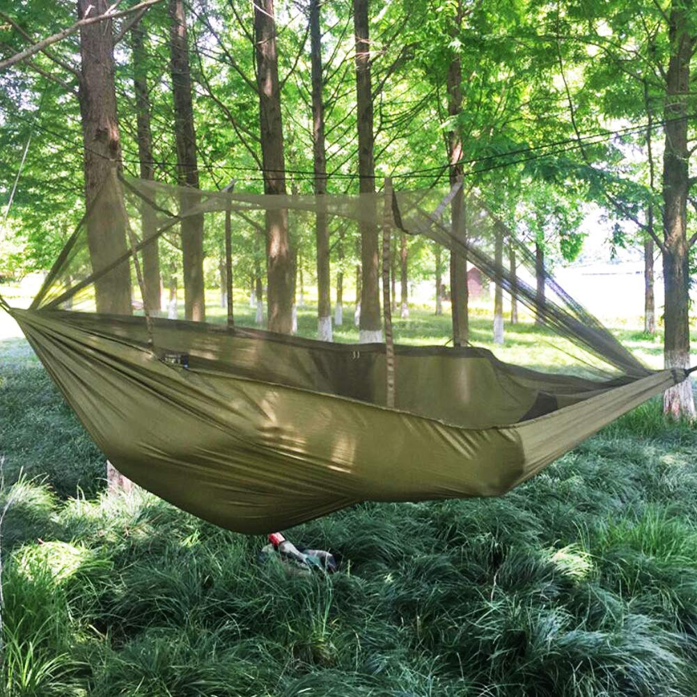 douper Parachute Cloth 2 Person Hammock with Mosquito Net Air Tent Army Green