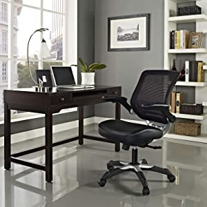 Modway Edge Mesh Back and Vinyl Seat Office Chair In Black With Flip-Up Arms - Perfect For Computer Desks