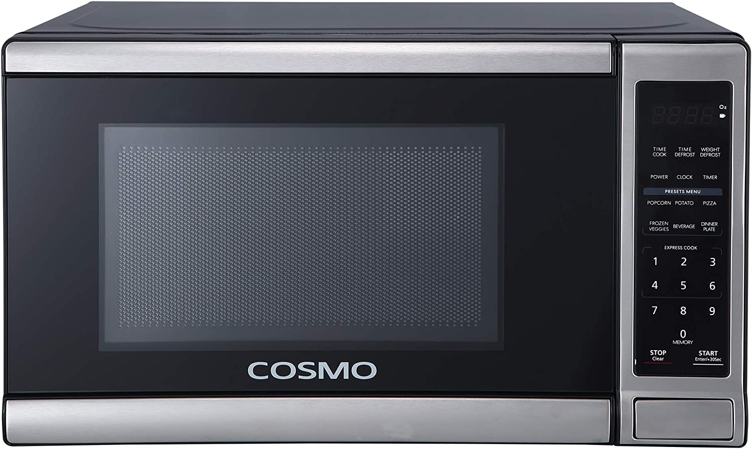 Cosmo COS-07CTMSSB Compact Countertop Microwave Oven with Touch Presets, Express Cook Buttons, 700W & 0.7 cu. ft. Capacity, 17 inch, Stainless Steel