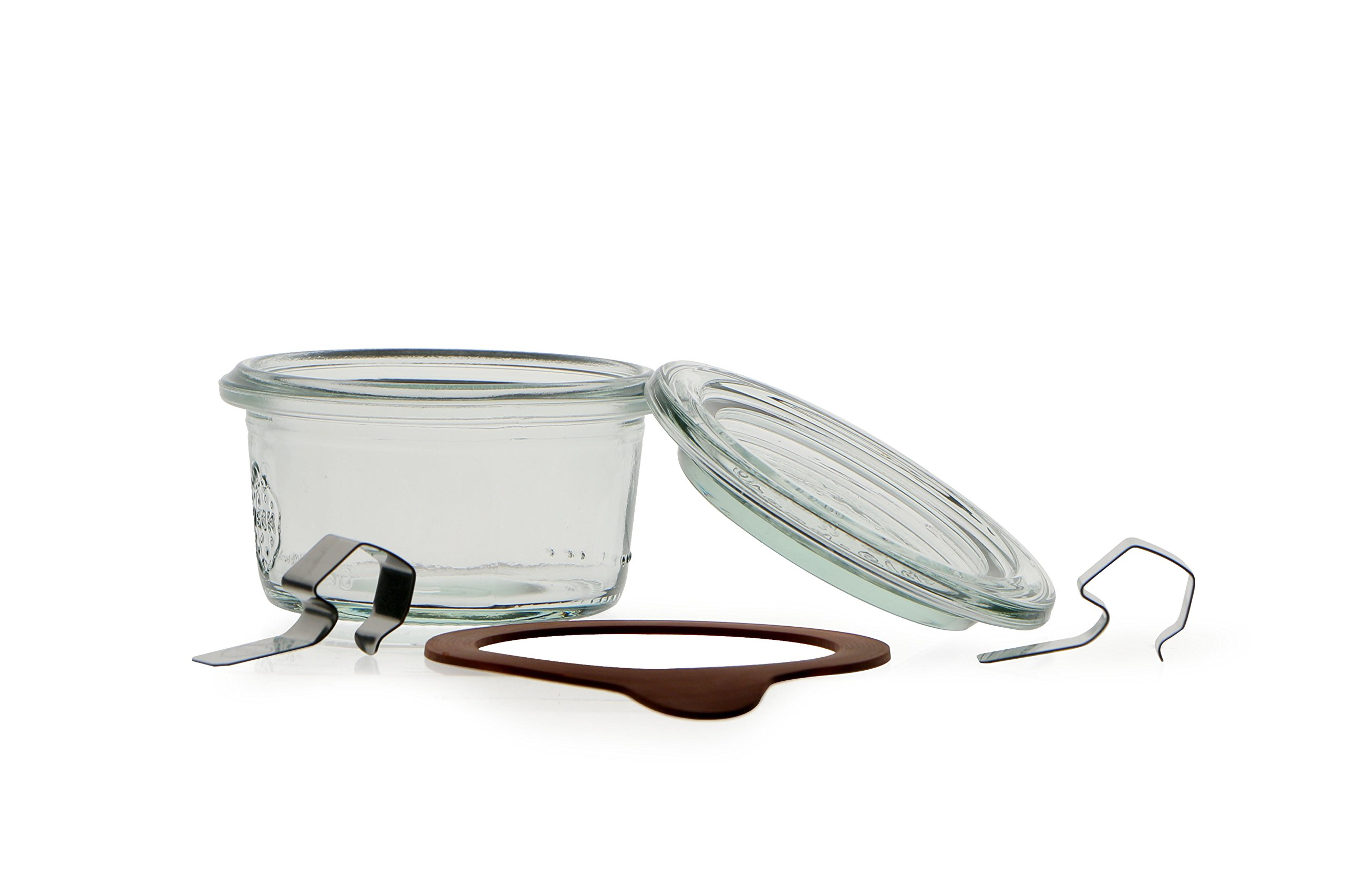 Weck 50 ml Jar with Lid 60 mm, Complete and Seal Clips, Pack of 24, Glass, Transparent