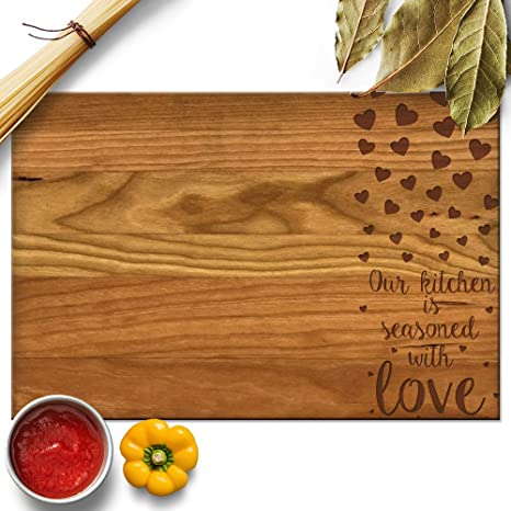 froolu kitchen seasoned with love wood chopping block for mothers day mom grandmother christmas
