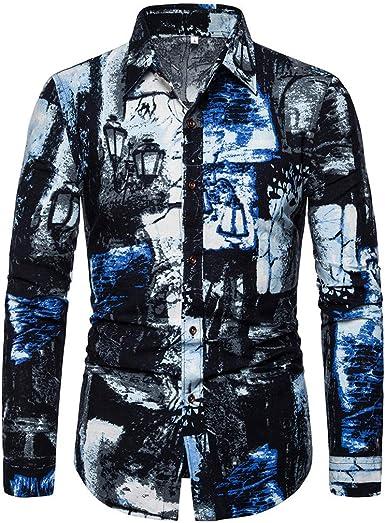 Camisa De Gran Tamaño para Hombres Lino Estilo Nacional Indio Algodón Twist T-Shirt Camisa Delgada De Manga Larga con Estampado Casual Cómodo: Amazon.es: Ropa y accesorios