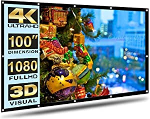 Projector Screen 150 Inch Portable Projector Screen 16:9 HD White Mounted Foldable Home Theater for Office Projection Indoors Outdoors Video Movies (100)