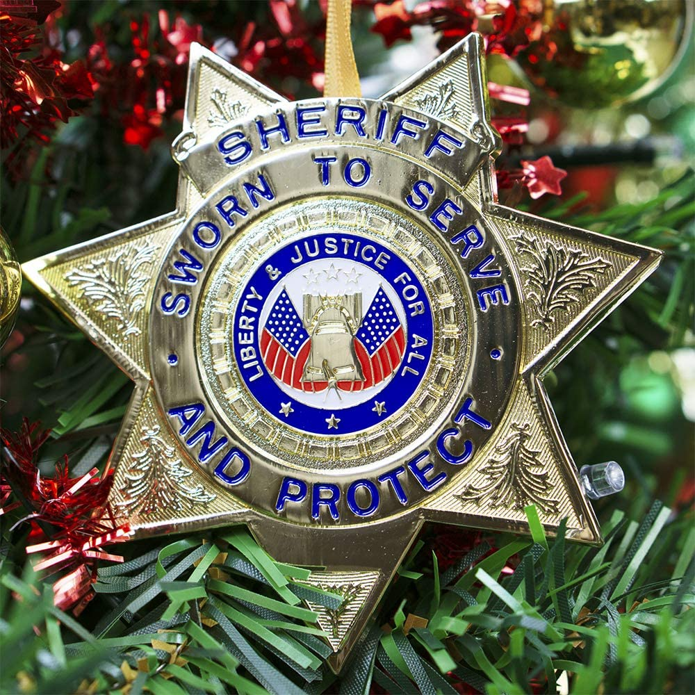 Die-cast Metal and Gold Plating Allied Products Sheriff Heroes Series Holiday Ornament Officially Licensed Sheriff Medallion
