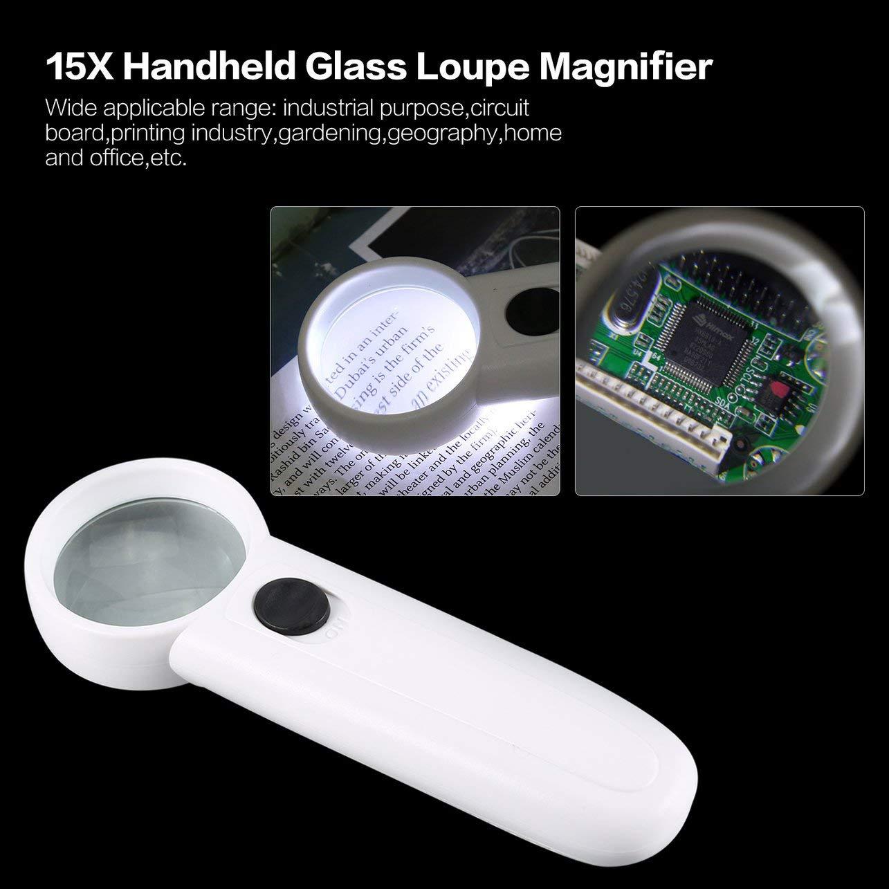 WOSOSYEYO 15X Lupa Lupa de Cristal de Mano Lupa de Vidrio Port/átil Herramienta de Bolsillo Profesional con Dos Luces LED