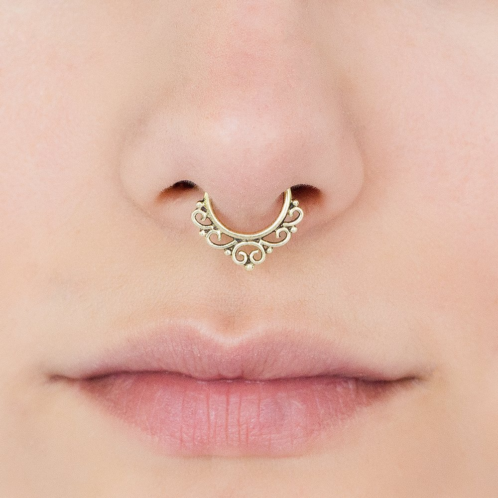 Amazon Com Fake Septum Nose Ring Indian Tribal Style Faux Brass
