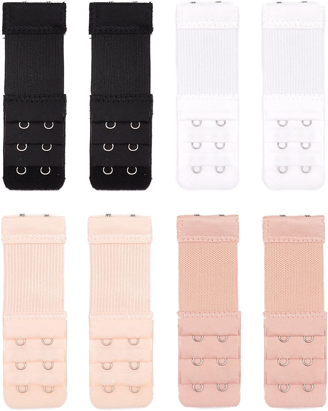3 Rows 2 Hooks Joyshare 8 Pieces Bra Extender Bra Extension Strap 4 Colors