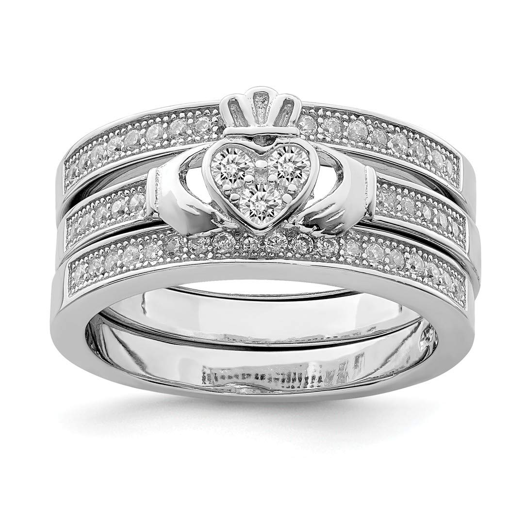 ICE CARATS 925 Sterling Silver Trio Set Band Rings Ring Claddagh Celtic Cz Fine Jewelry Ideal Gifts For Women Gift Set From Heart IceCarats 5411963983704324956