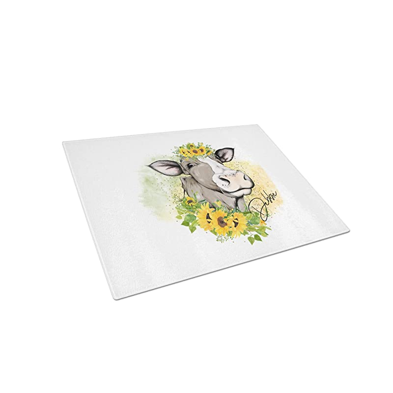 Sunflower in Vase Personalized Tempered Glass Cutting Board Wedding Anniversary Housewarming Gift