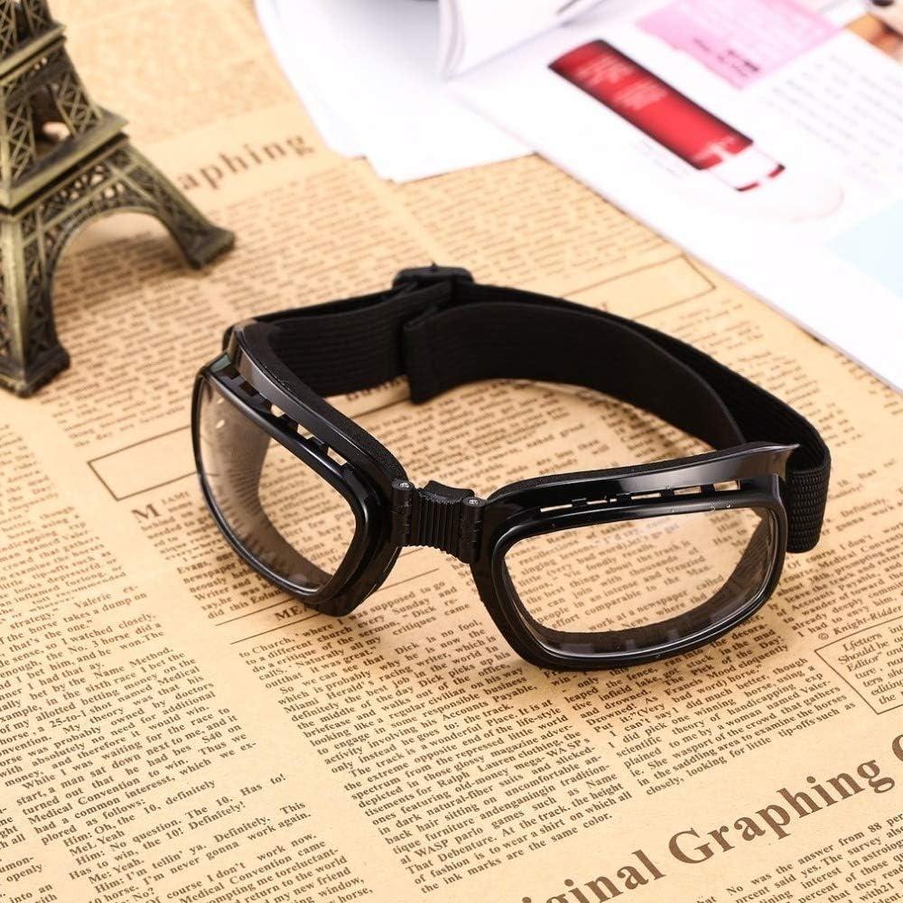 lunettes anti-/éclaboussures lunettes anti-bu/ée Yunbai Lunettes de s/écurit/é Pliable Vintage moto Lunettes coupe-vent Lunettes de ski Lunettes de snowboard hors course sur route Lunettes anti-poussi/ère