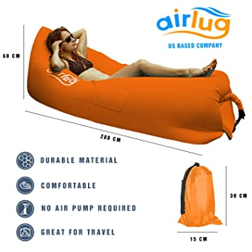 Luxury Inflatable Lounger by Airlug orange