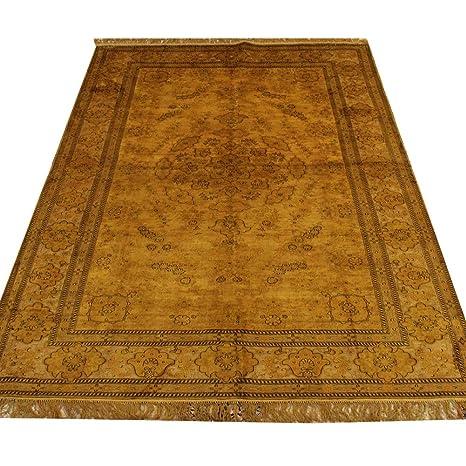 Amazon.com: Alfombra Camel de seda oriental tejida a mano de ...