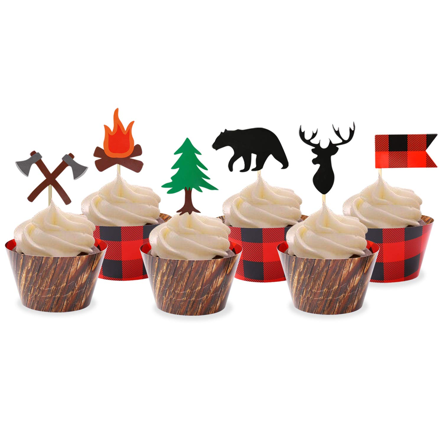 Levfla Camping Cupcake Toppers Wood Grain Buffalo Plaid Wrappers Woodland Theme Party Decoration Supplies Set of 24
