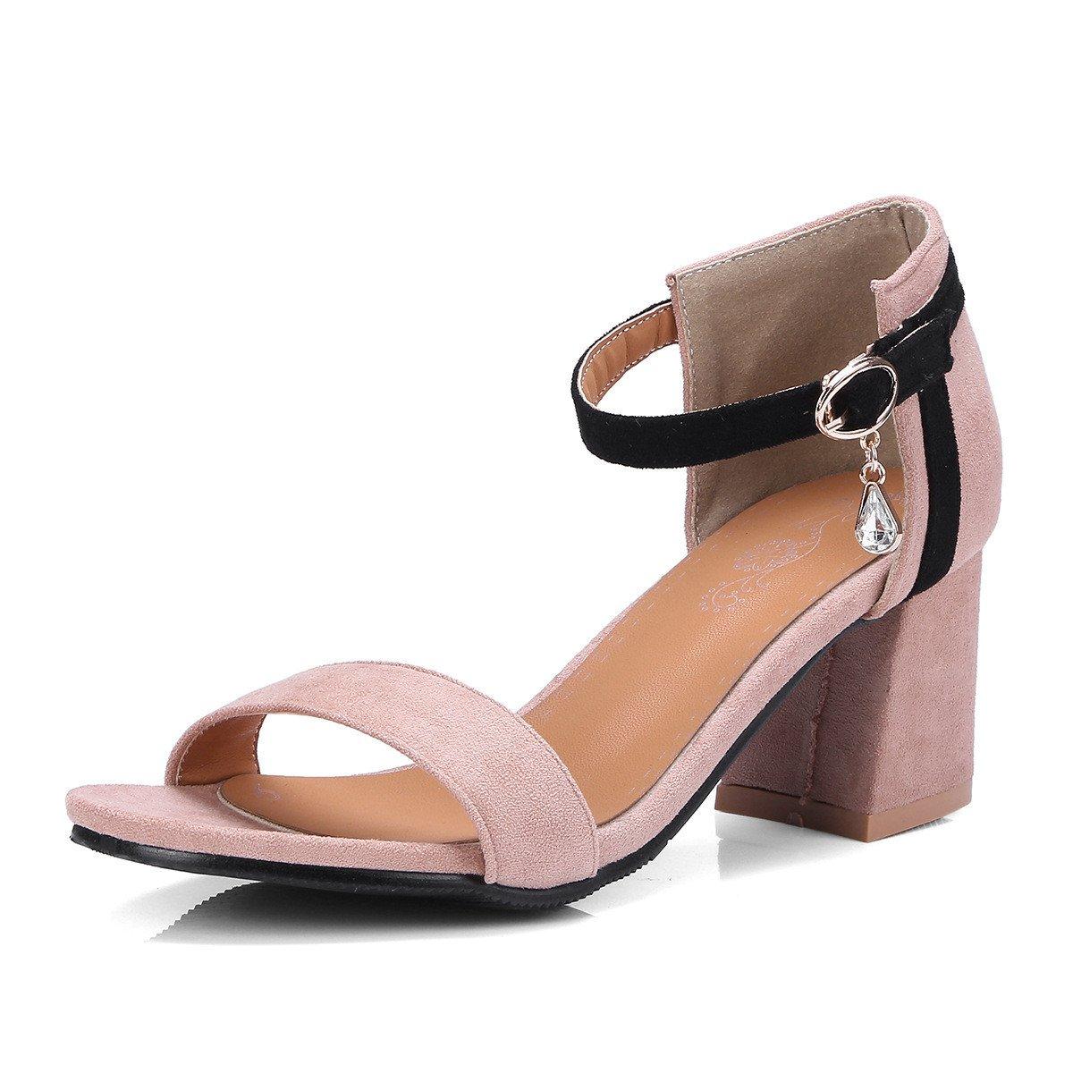 Summer high-heeled dew-Größe code satin rough with high-heeled Summer Damens Sandales Pink 060812