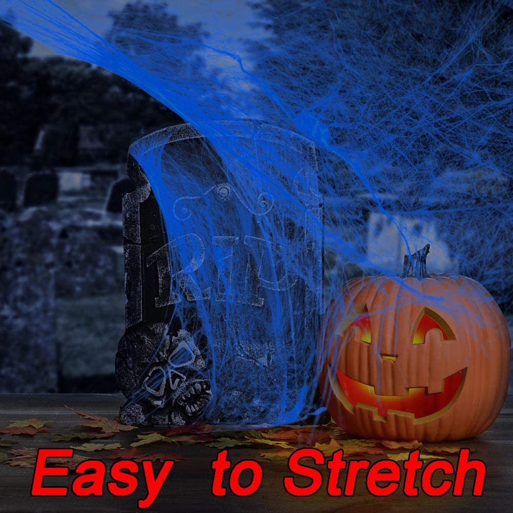 White with Blacklight Lamp,100g Halloween Glow Spider Webs Indoor /& Outdoor Spooky Spider Webbing with 37 Fake Spiders for Halloween Decorations