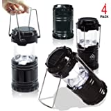 EACHPOLE  4-Pack  Outdoor Camping LED Lantern with Solar Charging Dual Power Supply Built-in Power Bank, APL2132