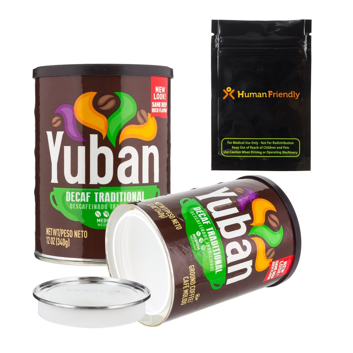 Yuban Coffee Diversion Safe Stash Container Can 44oz w HumanFriendly Smell-Proof Bag