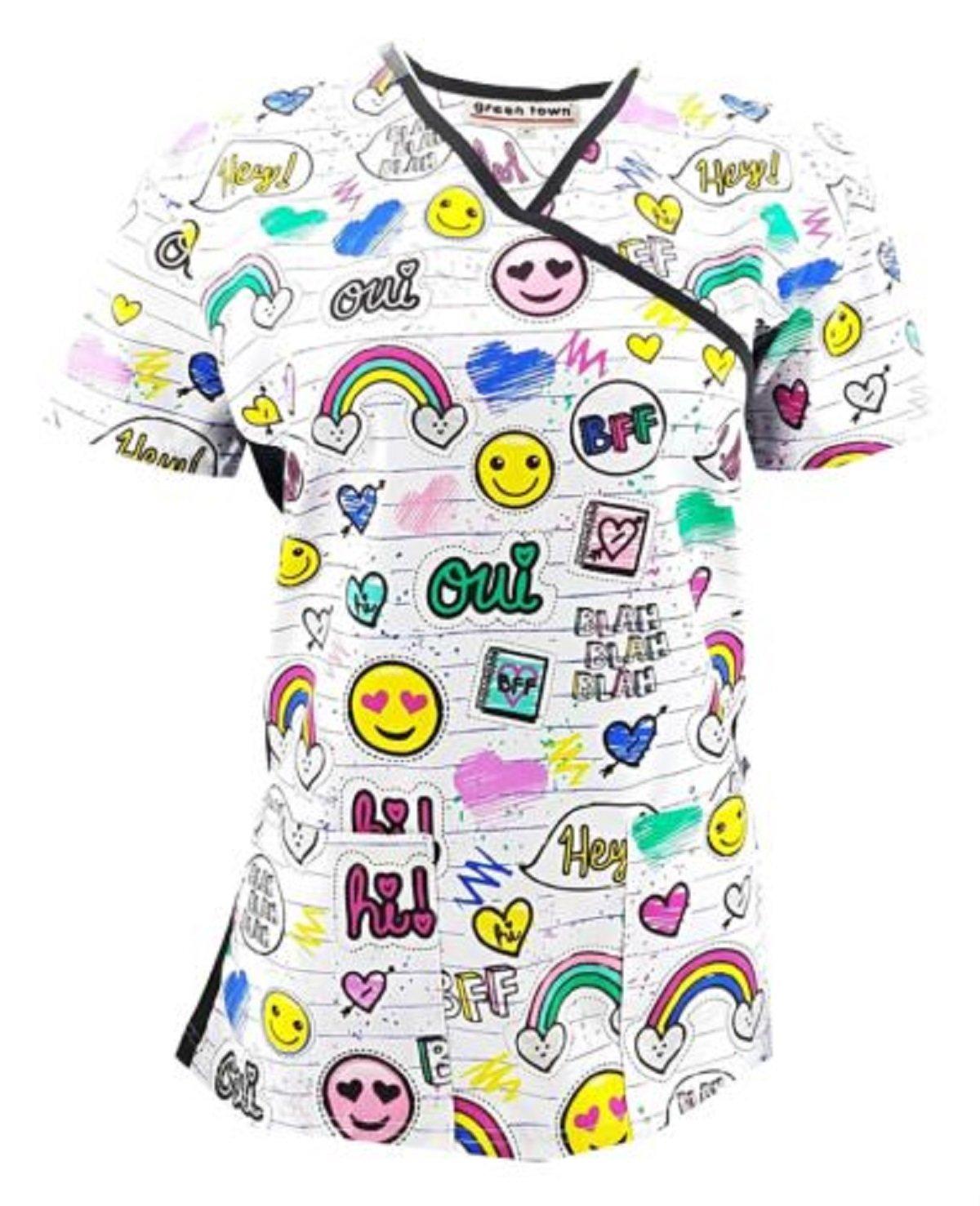 Zikit NY Women's Printed Nursing Medical Scrub TOP Plus Sizes XS S M L 1X 2X 3X 4X (S, Hearts)