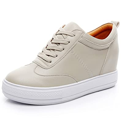 e8901283a63 Jamron Womens Soft Faux Leather Hidden Wedge Heel Sneakers Comfy Lace Up  Casual Trainers Beige SN2520