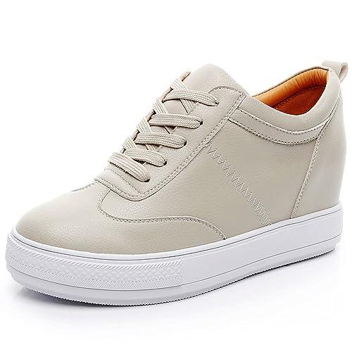 Con Casual Jamron Mujer Talón Cordones Deporte Imitacióngenuina Zapatillas Confortable Suave Zapatos Oculta Cuero De Cuña mNywOv8n0