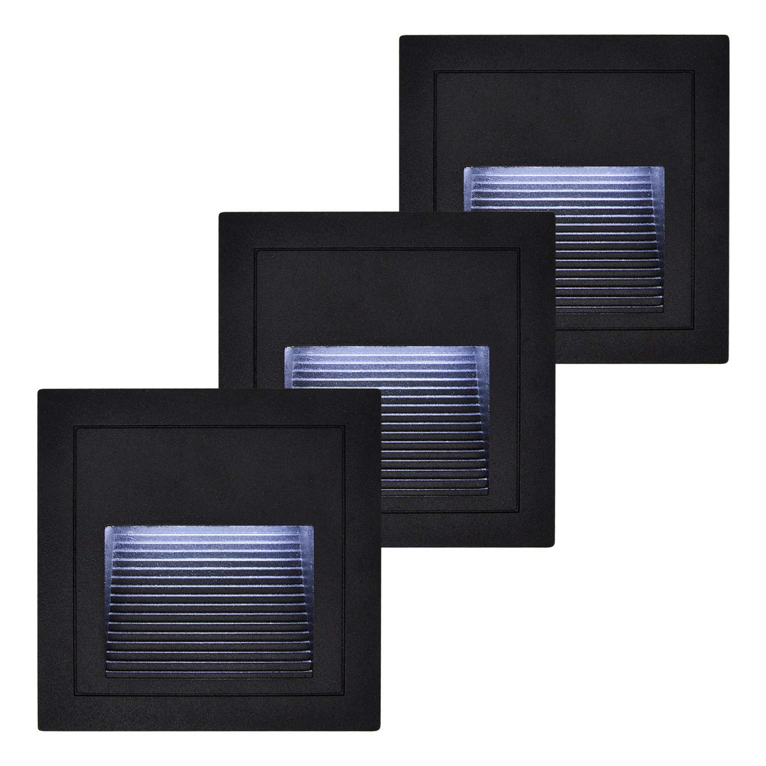 (3 Pack) Waterproof Step Lights, BOLXZHU 3W Indoor Outdoor Recessed Stair Light, 300LM LED Wall Sconces Lighting Night Light with 86 Type Boxes (Black+Cold White)