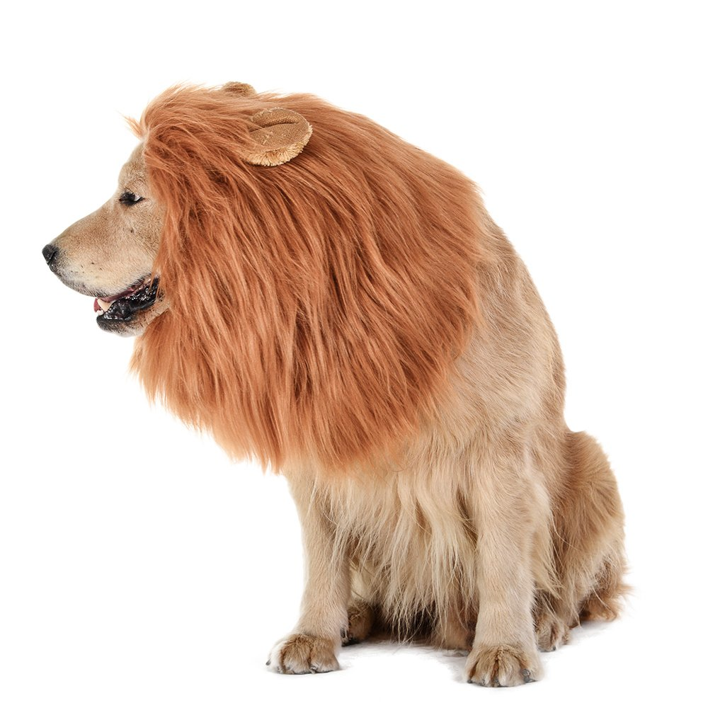TOMSENN Dog Lion Mane - Realistic & Funny Lion Mane for Dogs - Complementary Lion Mane for Dog Costumes - Lion Wig for Medium to Large Sized Dogs Lion Mane Wig for Dogs by TOMSENN