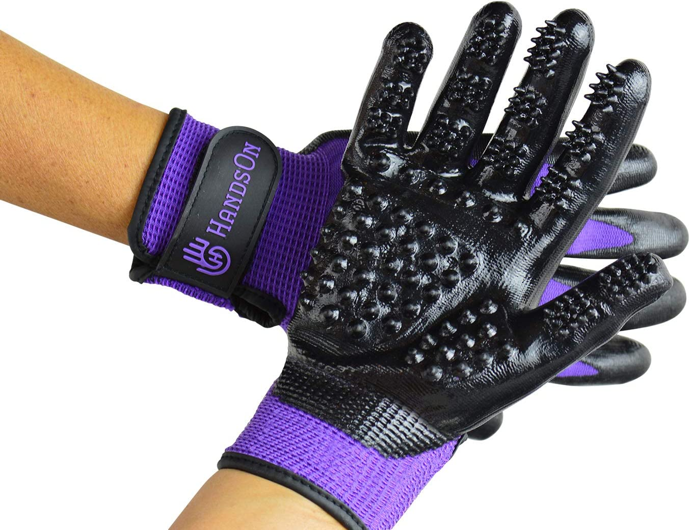 Handson Pet Grooming Gloves - Patented Shedding, Bathing, Hair Remover Gloves - Gentle Brush for All Sized Cats, Dogs, and Horses (Purple, Medium)