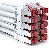 [SET 10 Stück] deleyCON 1m CAT6 Patchkabel - S-FTP PIMF - CAT-6 Netzwerkkabel / Ethernetkabel - 2x geschirmt - vergoldete Kontaktflächen - Weiß